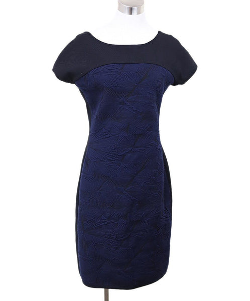 Fendi  Black Navy Rayon Gathered Trim Dress