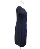 Fendi  Black Navy Rayon Gathered Trim Dress 1