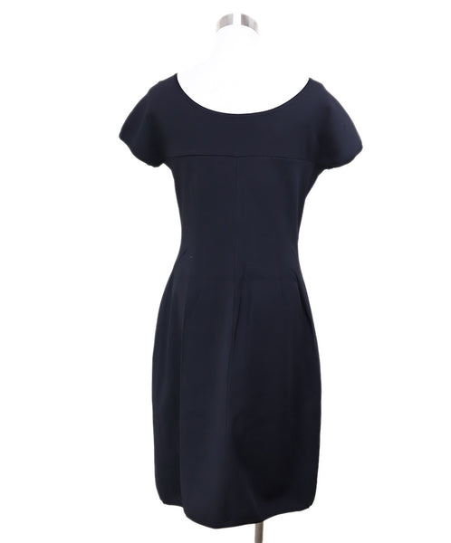 Fendi  Black Navy Rayon Gathered Trim Dress 2