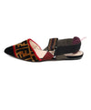 Fendi Black Bronze Velour Red Plum Elastic Flats 1