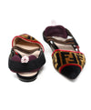Fendi Black Bronze Velour Red Plum Elastic Flats 3