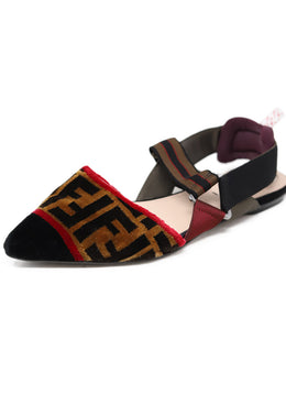 Fendi Black Bronze Velour Red Plum Elastic Flats