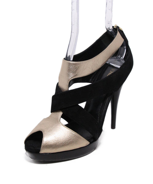 Fendi Black Gold Leather Suede Heeled Sandals 1