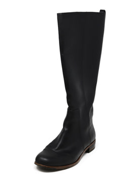 Fendi Black Leather Gold Hardware Boots
