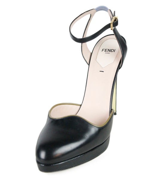 Fendi Black Leather Shoes Sz 40
