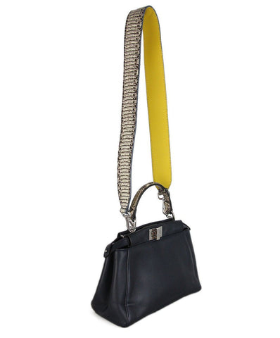 Fendi Black Navy Leather Yellow Snake Skin Handbag 1