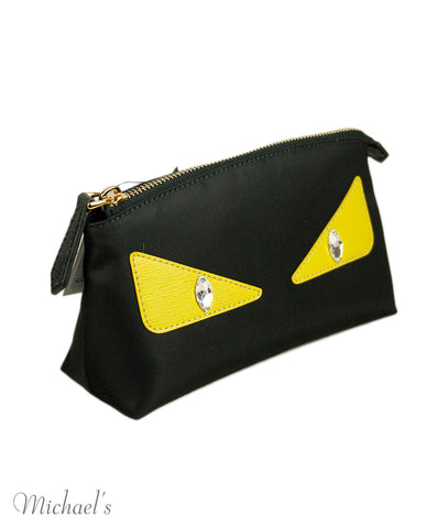 Fendi Black Nylon Yellow Leather Cosmetic Case