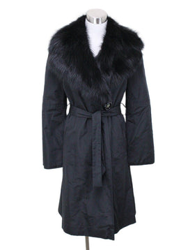 Fendi Black Silk Fox Collar Coat