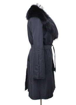Fendi Black Silk Fox Collar Coat 1