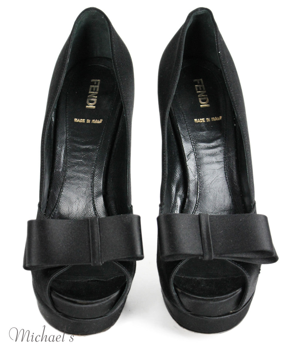 Fendi  Black Silk W/Bow Shoes Sz 38.5 - Michael's Consignment NYC  - 4