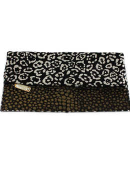 Fendi Black White Calfhair Clutch