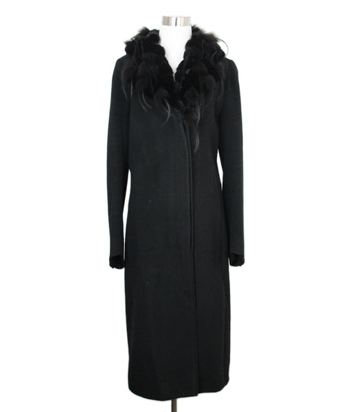 Fendi Black Wool Cashmere Fur Trim Coat 1