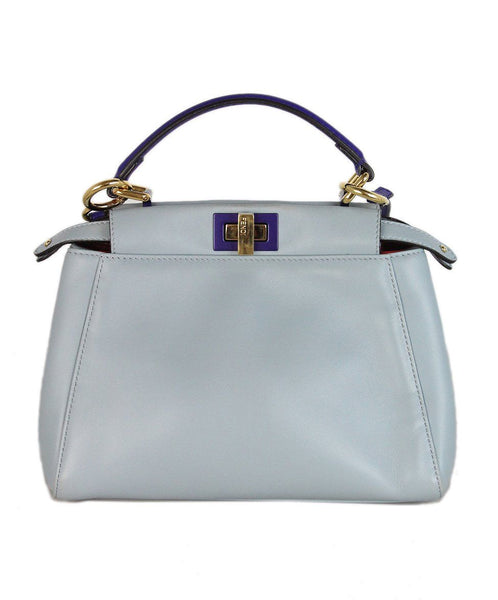 Fendi Blue Purple Leather Shoulder Bag 1