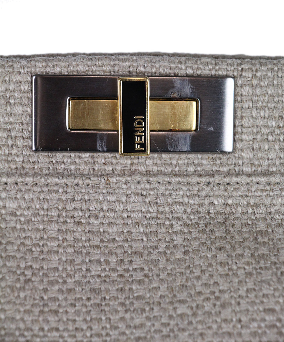 Fendi Peekaboo Neutral Khaki Linen Black Leather Trim Satchel