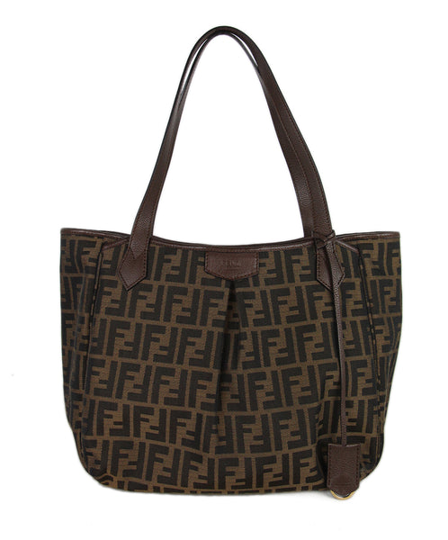 Fendi Brown Canvas Leather Tote 1