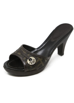 Fendi Brown Leather Sandals with Monogram Trim Detail 1