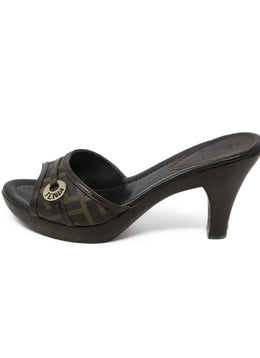 Fendi Brown Leather Sandals with Monogram Trim Detail 2