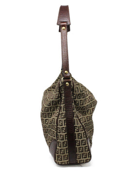 Fendi Brown Monogram Canvas Hobo Bag 1
