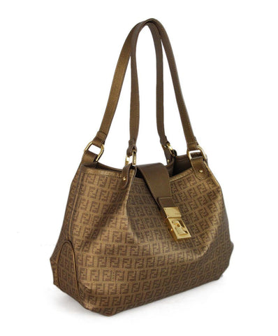 Fendi Gold Monogram Leather Handbag 1