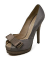 Fendi Grey Taupe Satin Heels 1