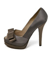 Fendi Grey Taupe Satin Heels 2
