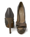 Fendi Grey Taupe Satin Heels 3