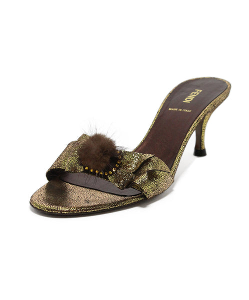 Fendi Metallic Brown Gold Bow Heels 1