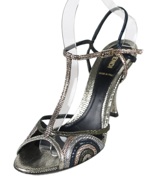 Fendi Metallic Leather Shoes Sz 39.5