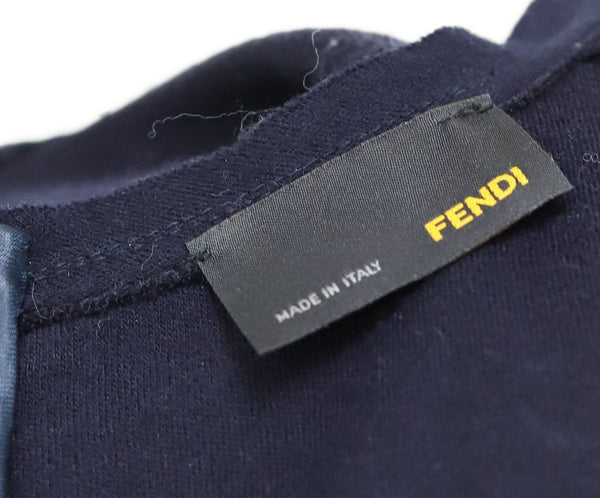 Fendi Blue Navy Wool Ruffle Trim Dress 3