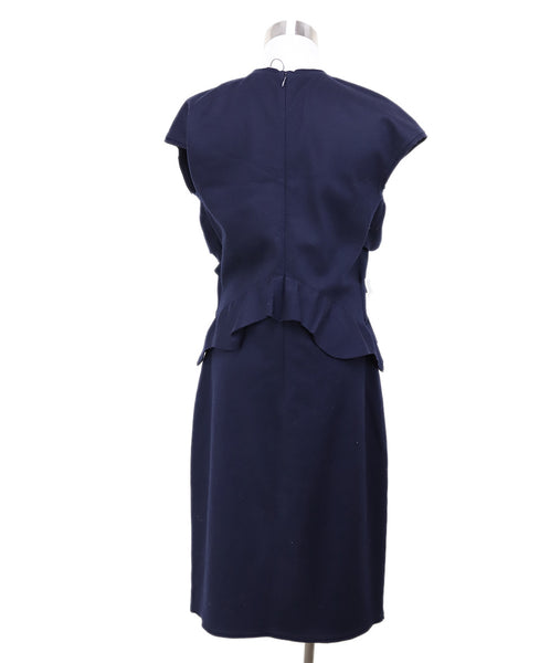Fendi Blue Navy Wool Ruffle Trim Dress 2