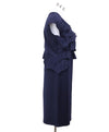 Fendi Blue Navy Wool Ruffle Trim Dress 1