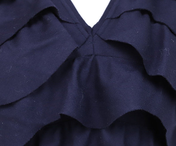 Fendi Blue Navy Wool Ruffle Trim Dress 4