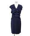 Fendi Blue Navy Wool Ruffle Trim Dress