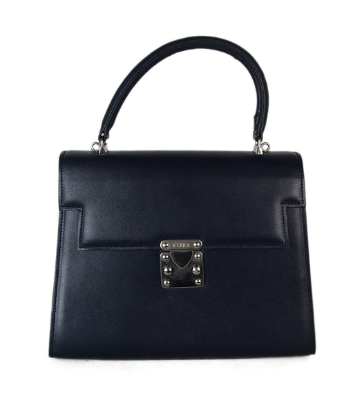 Fendi Navy Leather Vintage Satchel 1