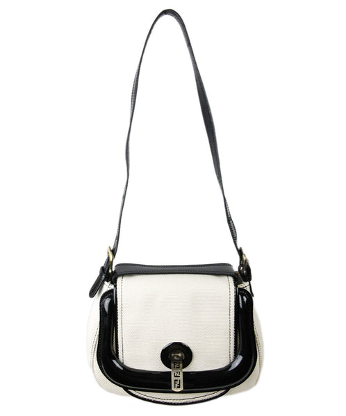 Fendi Beige Canvas Black Patent Leather  Trim Handbag