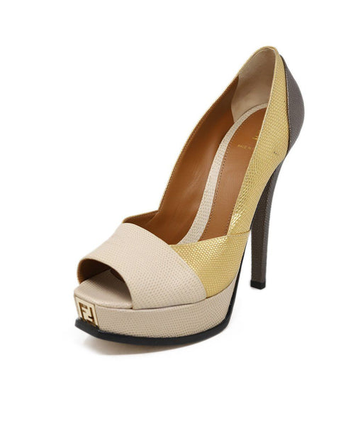 Fendi Neutral Gold Bronze Platform Heels