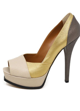Fendi Neutral Gold Bronze Platform Heels 1
