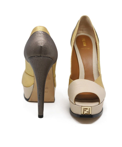 Fendi Neutral Gold Bronze Platform Heels 3