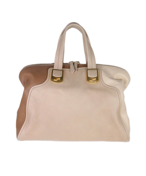 Fendi Neutral Tan Beige Leather Satchel 1