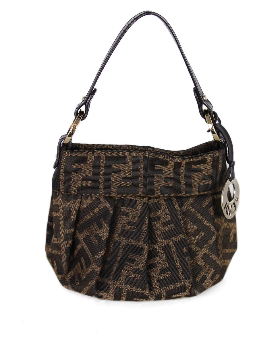 Fendi Brown Black Canvas Handbag