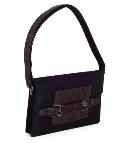 Fendi Purple Black Nylon Lizard Bag 1
