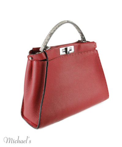 Fendi 'Peekaboo' Red Leather Beige Python Handbag