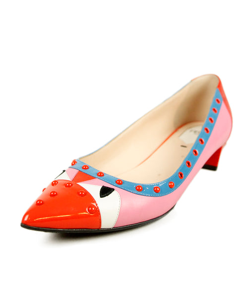 Fendi Red Pink Blue Patent Leather Shoes 1