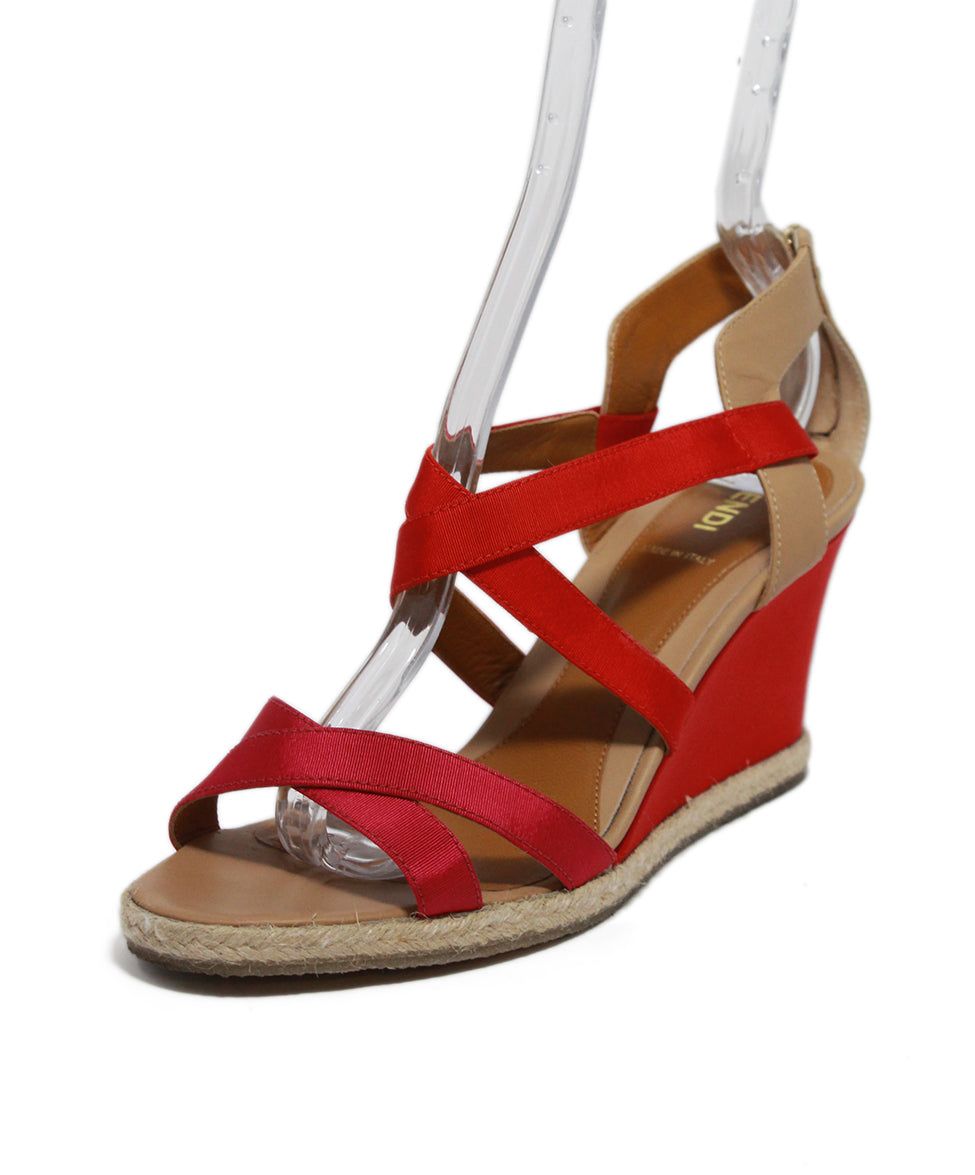 Fendi Red Tan Leather Raffia Wedge 1