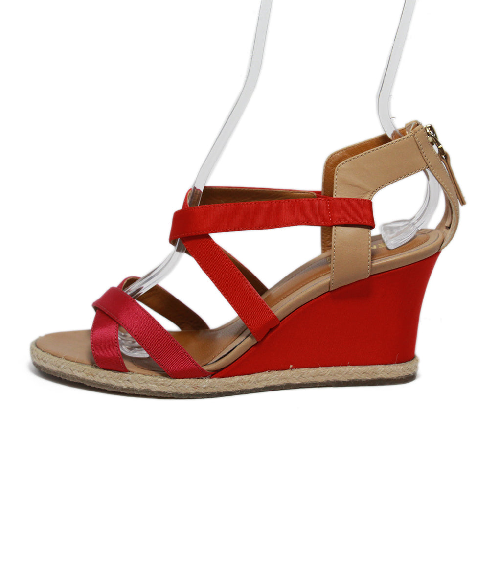 Fendi Red Tan Leather Raffia Wedge 2