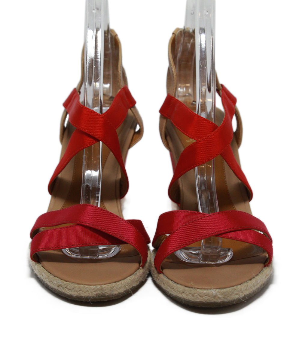 Fendi Red Tan Leather Raffia Wedge 4