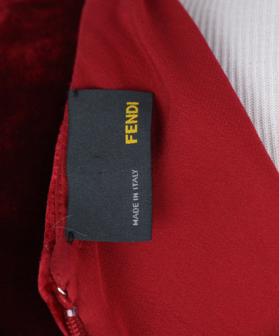Fendi Red Velvet Dress 4