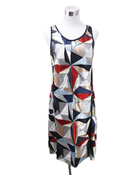 Fendi Red White Black Multi Sequins Dress