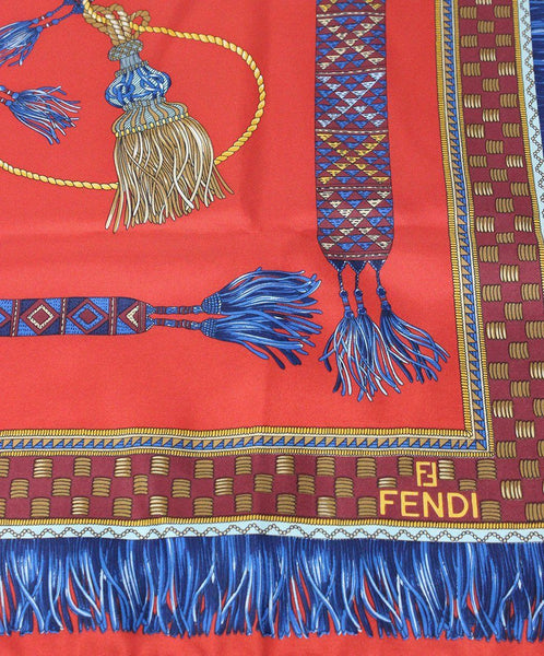 Fendi Red Blue Print Silk Scarf 1