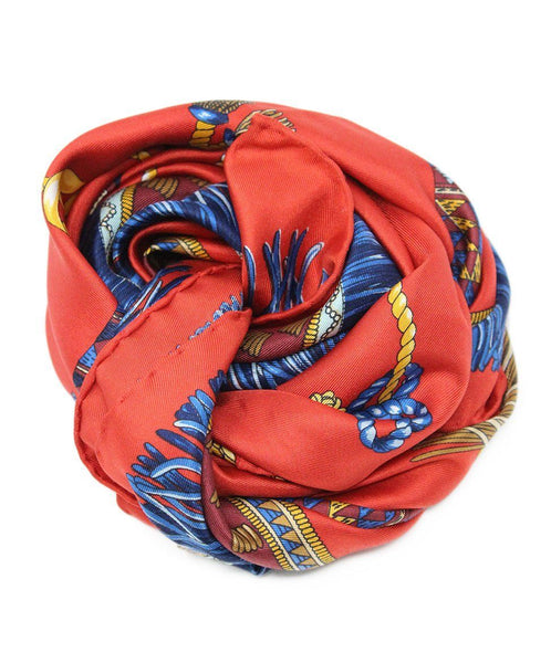 Fendi Red Blue Print Silk Scarf